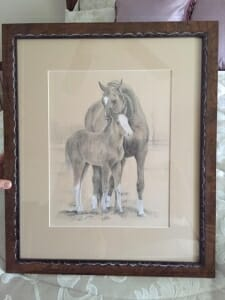 framed image of Patina and Foal