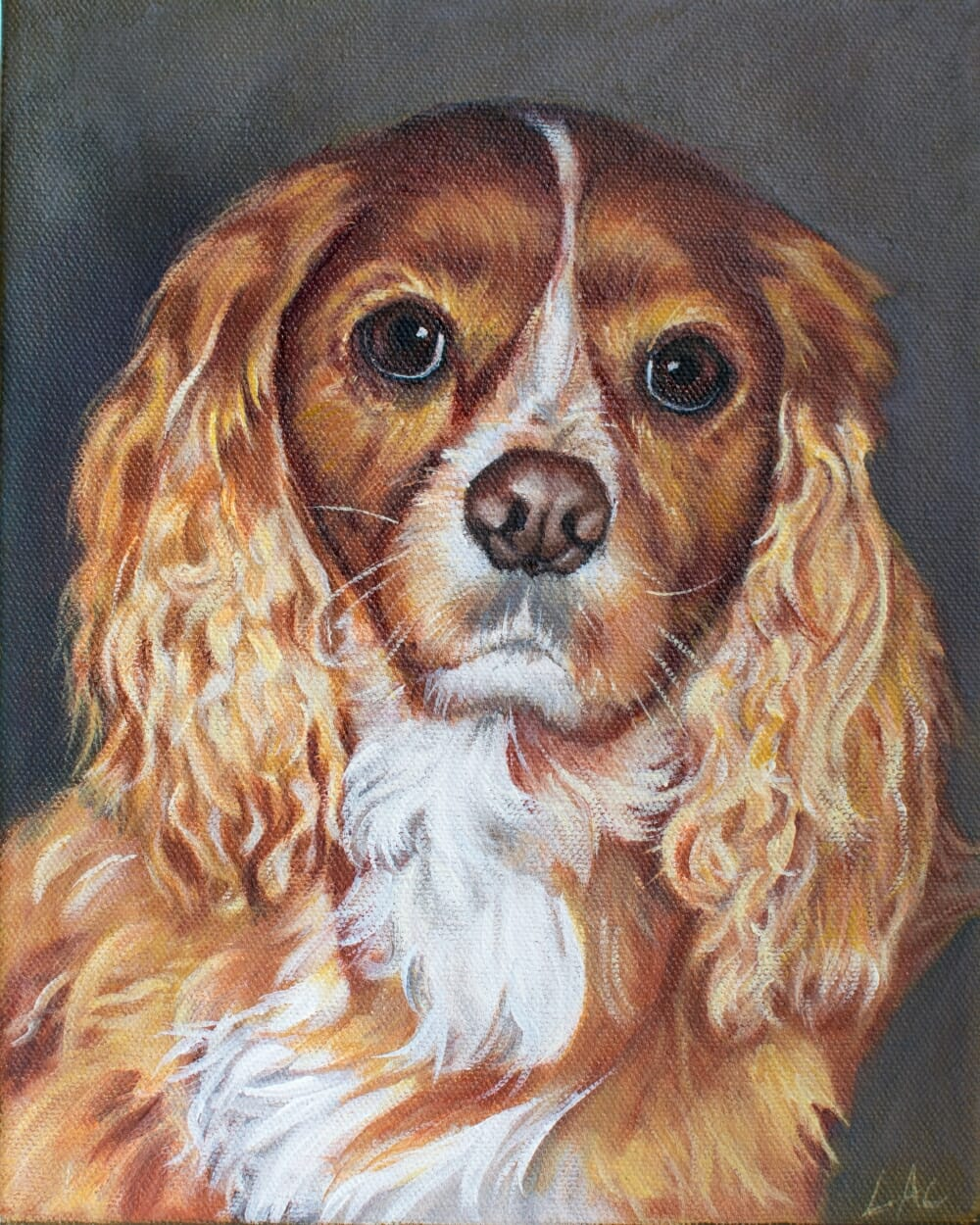 LAc Studio - Pet Portrait Painting of Lucky (2) by Lisa Acciai