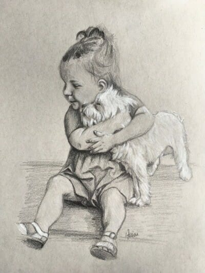 """Hugs"" sketch by Lisa Acciai"
