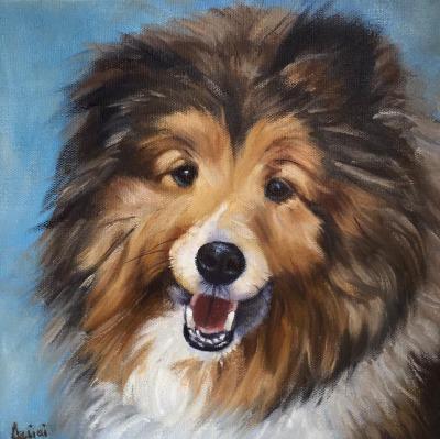 Rudy-shepherd oil painting by Lisa Acciai
