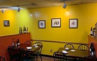 Zeppolis yellow mixed media wall