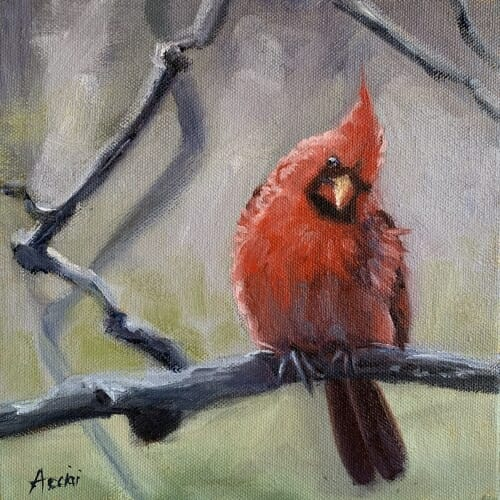 Winter Bird-Cardinal-male-oil-LAcciai