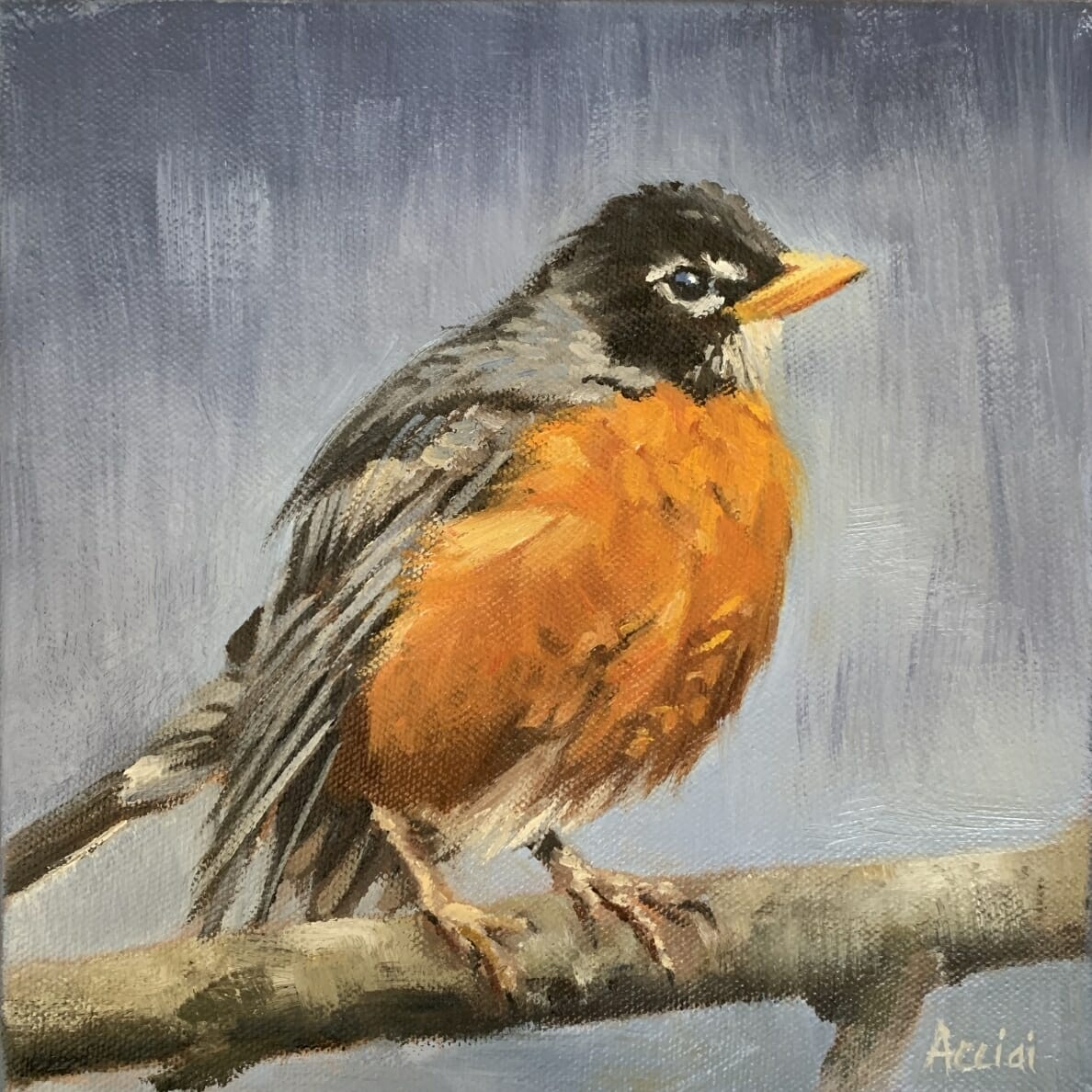 Spring Robin-Lisa Acciai -oil painting