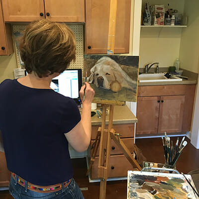 Pet portrait paintings and drawings by artist Lisa Acciai