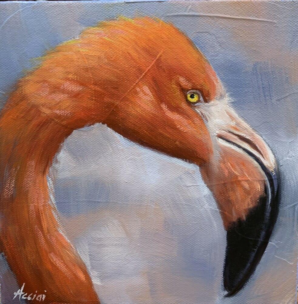 Flo the Flamingo - 8x8-oil LAcciai